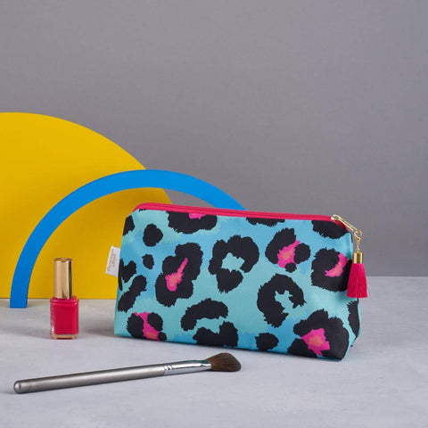 Teal Leopard Print makeup bag