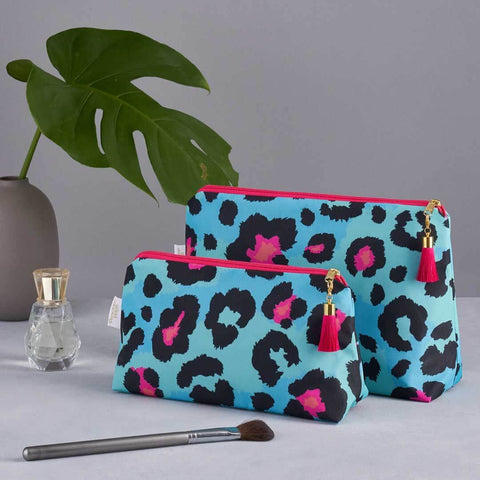 Teal Leopard Print 'Weekend Away' Wash Bag