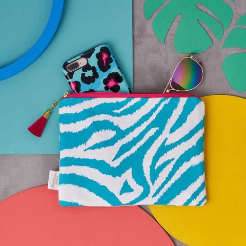 Teal Zebra Print Cotton Pouch by Penelope Hope