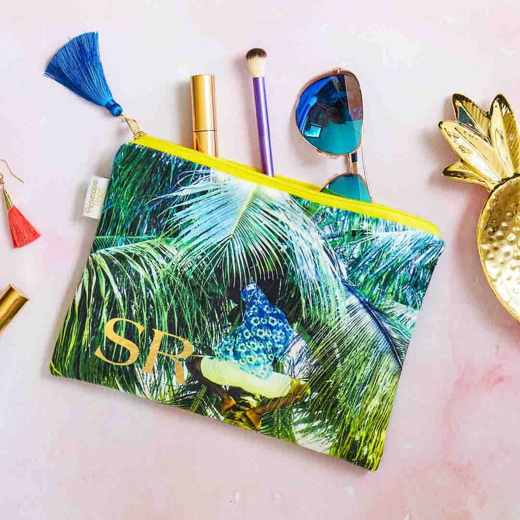 Velvet Personalised Cosmetic Pouch -Picking Coconuts Design by Penelope Hope