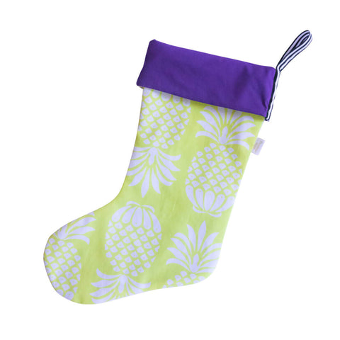 Yellow Pineapple Christmas Stocking by Penelope Hope
