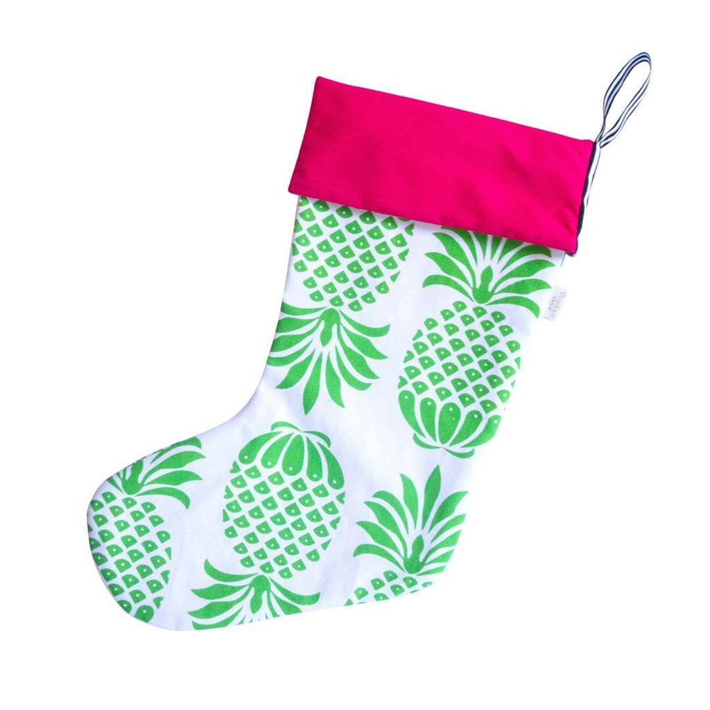 Green and White Pineapple motif Christmas Stocking with Pink Cuff