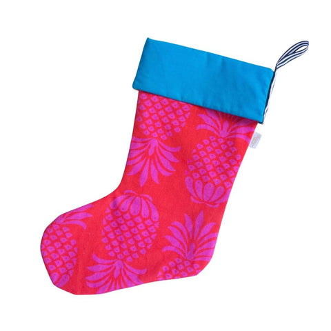 Red and Pink Pineapple Christmas Stocking by Penelope Hope