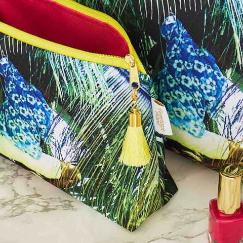 Tropical Waterproof Wash Bag with Pink Lining and Yellow Tassel by Penelope Hope