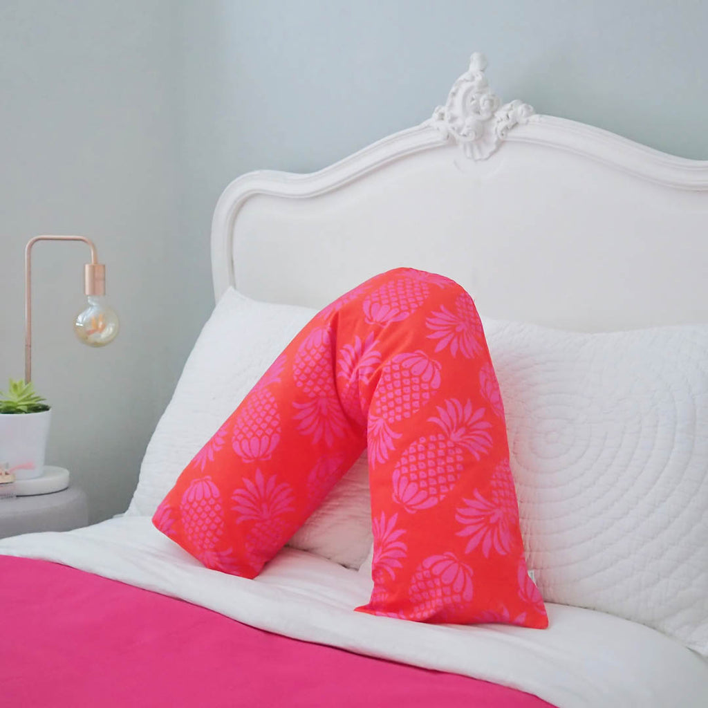 V-shaped Pillow in Pina Colada Red Mix Pineapple Design by Penelope Hope