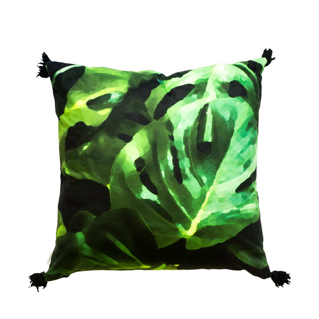 Monstera Leaf Velvet Cushion