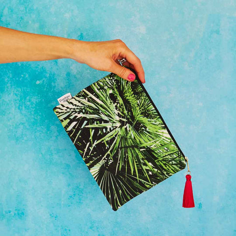 Palm Leaf Velvet Pouch or Clutch Bag by Penelope Hope