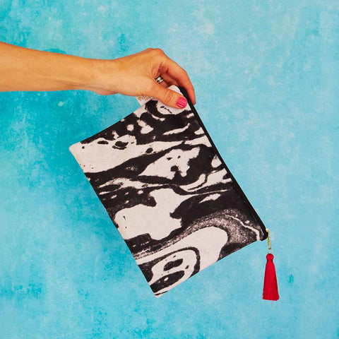 Mono Marble Velvet Pouch or Clutch Bag by Penelope Hope