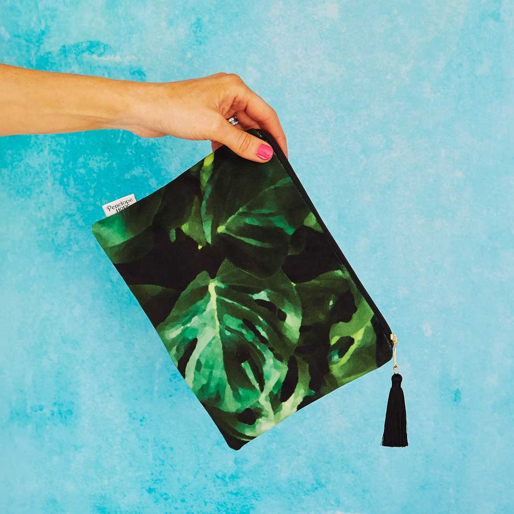 Monstera Leaf Velvet Pouch or Clutch Bag by Penelope Hope