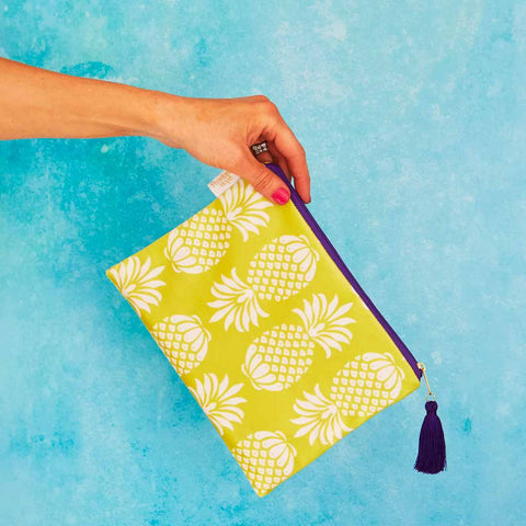Yellow Pineapple Velvet Pouch or Clutch Bag by Penelope Hope