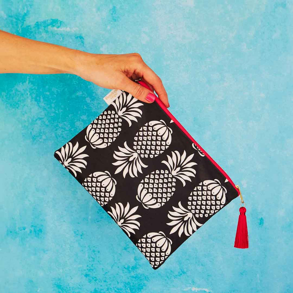 Pineapple Velvet Pouch or Clutch Bag in Black and White by Penelope Hope