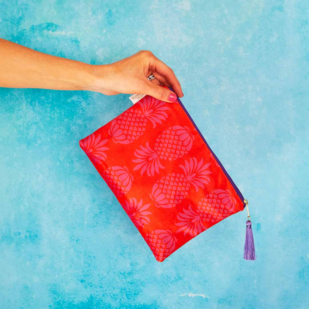 Red and Purple Pineapple Velvet Pouch or Clutch Bag by Penelope Hope