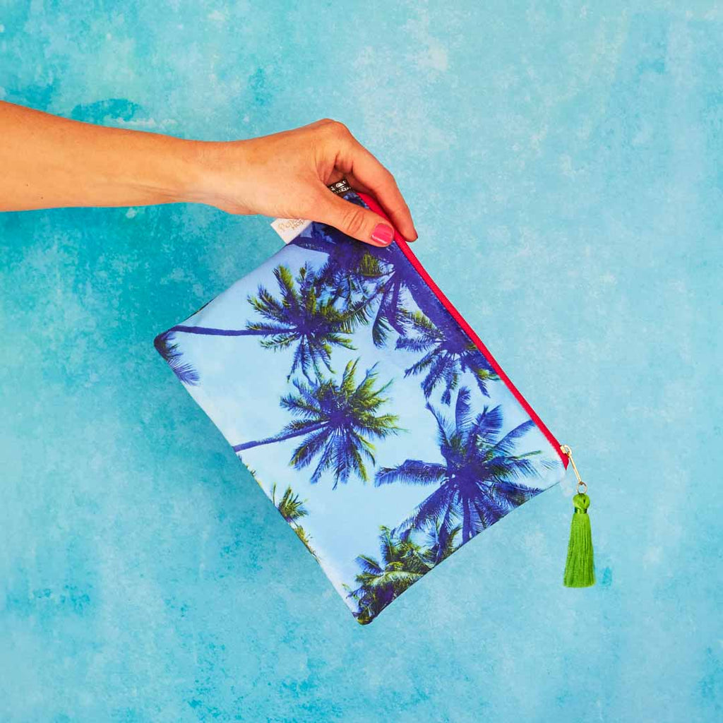 Palm Sky Blue Velvet Pouch or Clutch Bag by Penelope Hope