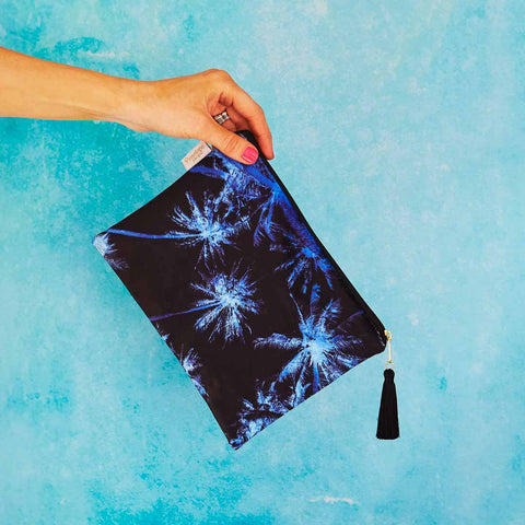 Palm Sky Midnight Velvet Pouch or Clutch Bag by Penelope Hope