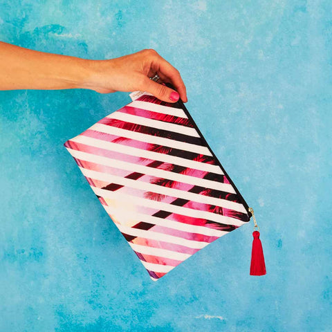 Pink Palms Velvet Pouch or Clutch Bag by Penelope Hope