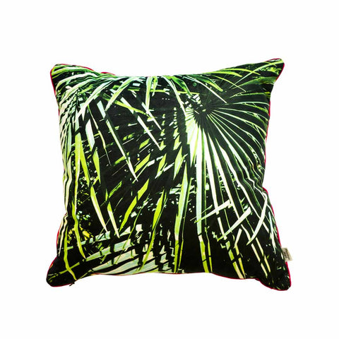 Palm Leaf Velvet Cushion