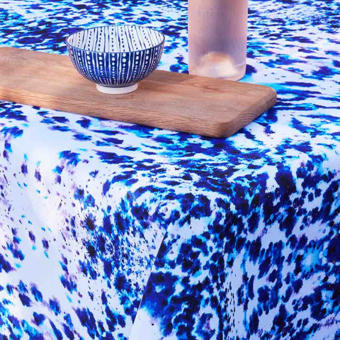 Outdoor Fabric Tablecloth in Mesmerise with bowl by Penelope Hope