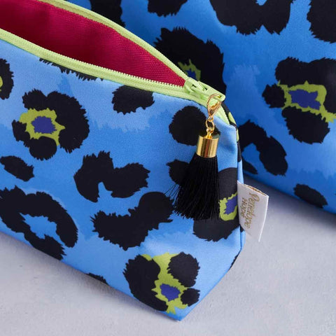 Blue Leopard Print makeup bag with pink lining