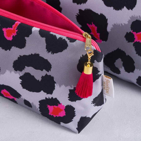 Grey Leopard Print Makeup Bag with pink lining