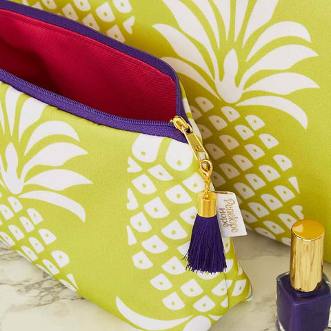 Yellow Pineapple Makeup Bag with Pink Lining and Purple Tassel by Penelope Hope