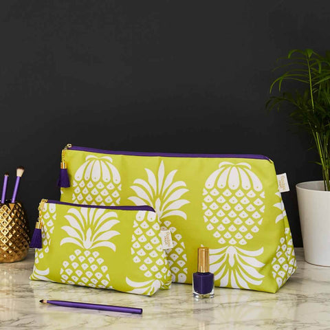Yellow Pineapple Wash and Makeup Bag Set by Penelope Hope