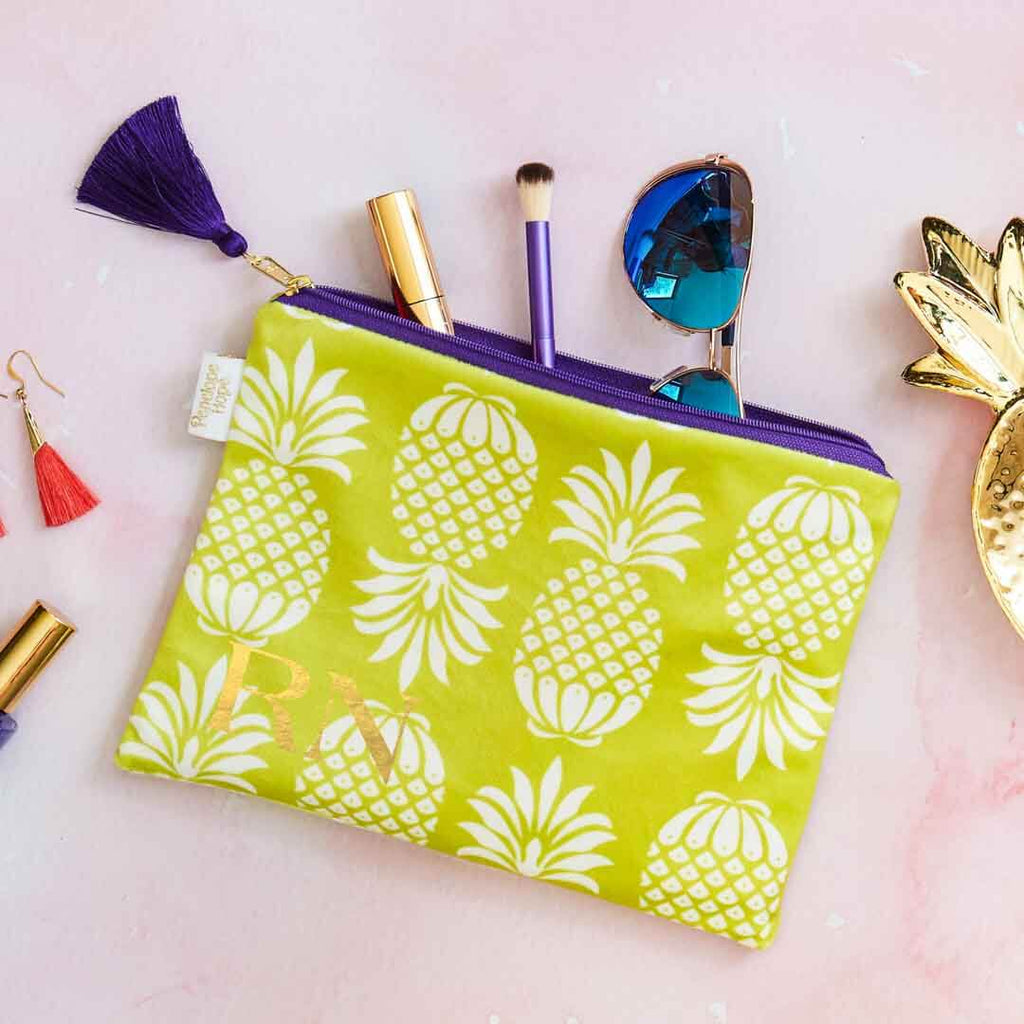 Personalised Yellow Pineapple Velvet Pouch by Penelope Hope