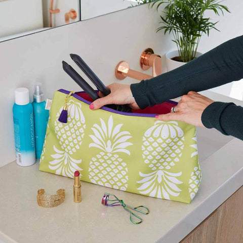 Yellow Pineapple Travel Wash Bag by Penelope Hope