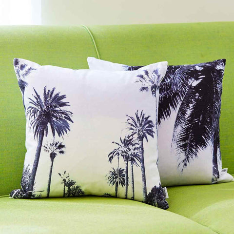 Palm Tree Cushion in black and soft blue | Penelope Hope
