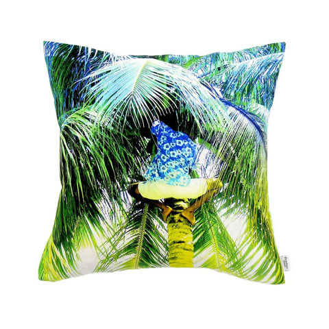Picking Coconuts with palm tree image Cushion by Penelope Hope