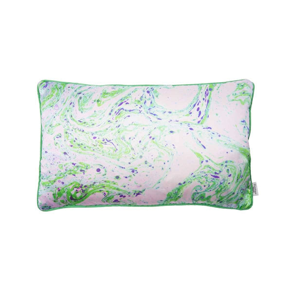 Neon green marble silk rectangular cushion by Penelope Hope