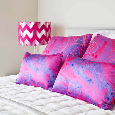 Hot Pink Marble | Silk Cushion