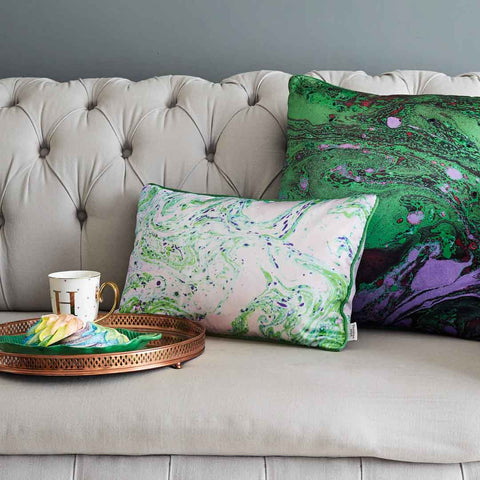 Neon Green Marble | Silk Cushion