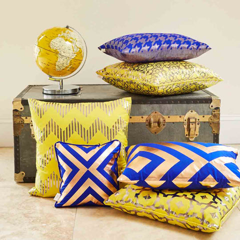 Silk metallic rectangular cushion in Yellow & Gunmetal | Penelope Hope