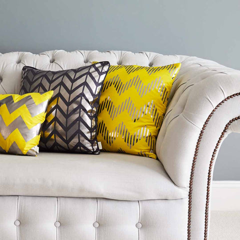 Silk metallic cushion in yellow & gunmetal | Penelope Hope