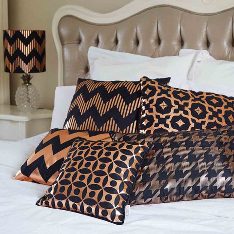 Silk metallic cushions in black & copper | Penelope Hope