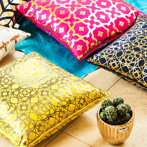 Lust Cushion -Moroccan style silk cushion in Yellow & Gunmetal metallic print | Penelope Hope