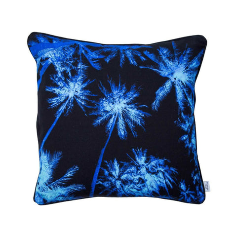 Palm Tree Print Cotton Cushion in Navy Blue by Penelope Hope