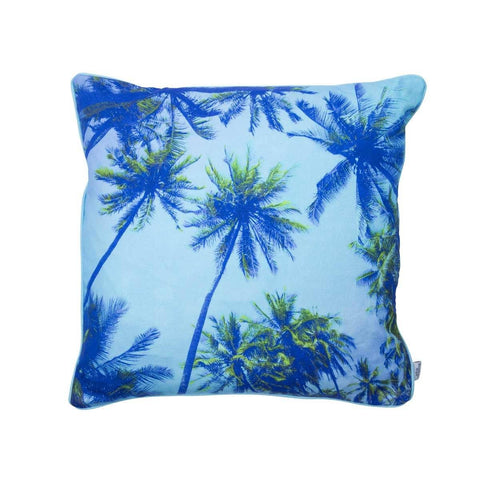 Tropical Palm Tree Print Cotton Cushion in Blue | Penelope Hope