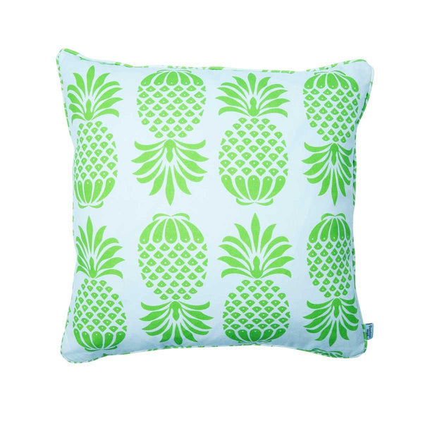 Pineapple Green and White Cotton Cushion