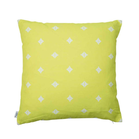 back of Taha'a Moroccan Chartreuse Cushion | Penelope Hope