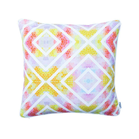 Geometric Multicoloured Wanderlust Sunrise Cushion by Penelope Hope