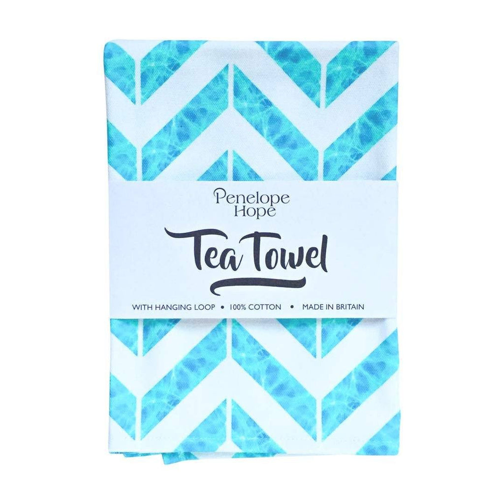 Chevron Aqua Tea Towel by Penelope Hope