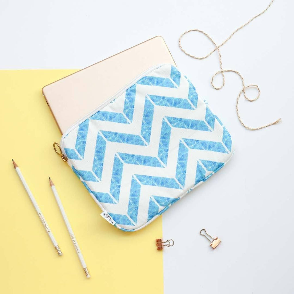 Blue Chevron Print iPad Case by Penelope Hope