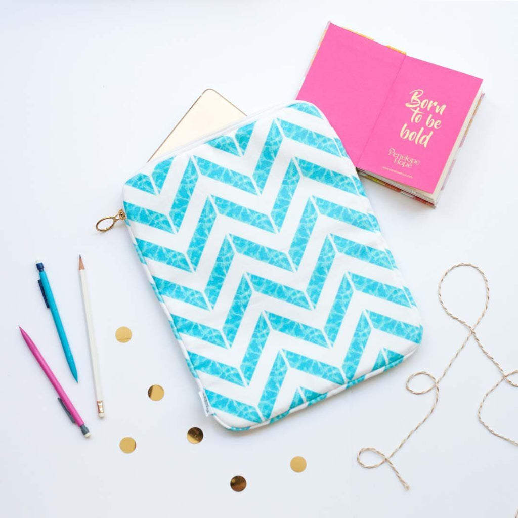 Aqua Chevron Print Tablet or iPad Case by Penelope Hope