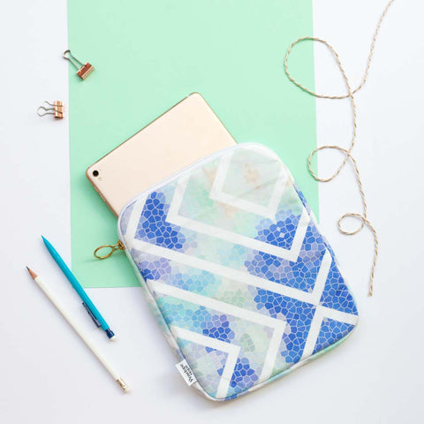 Blue Geometric iPad Case by Penelope Hope