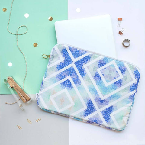 Blue Geometric Laptop Case by Penelope Hope