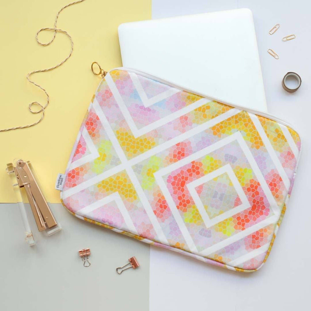 Yellow Geometric Laptop Case by Penelope Hope