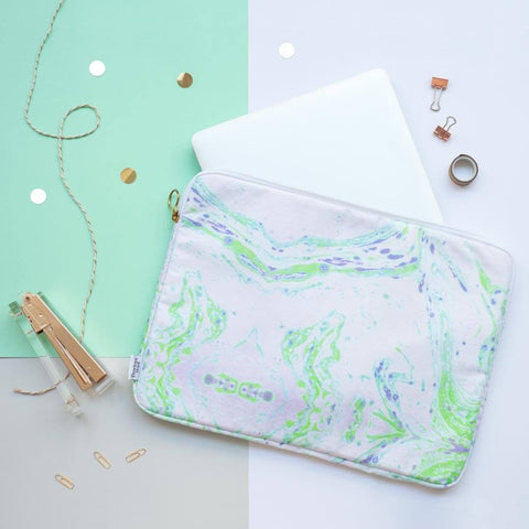 Neon Green Marble Laptop Case by Penelope Hope