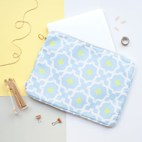 Light Blue Moroccan Print Laptop Case by Penelope Hope