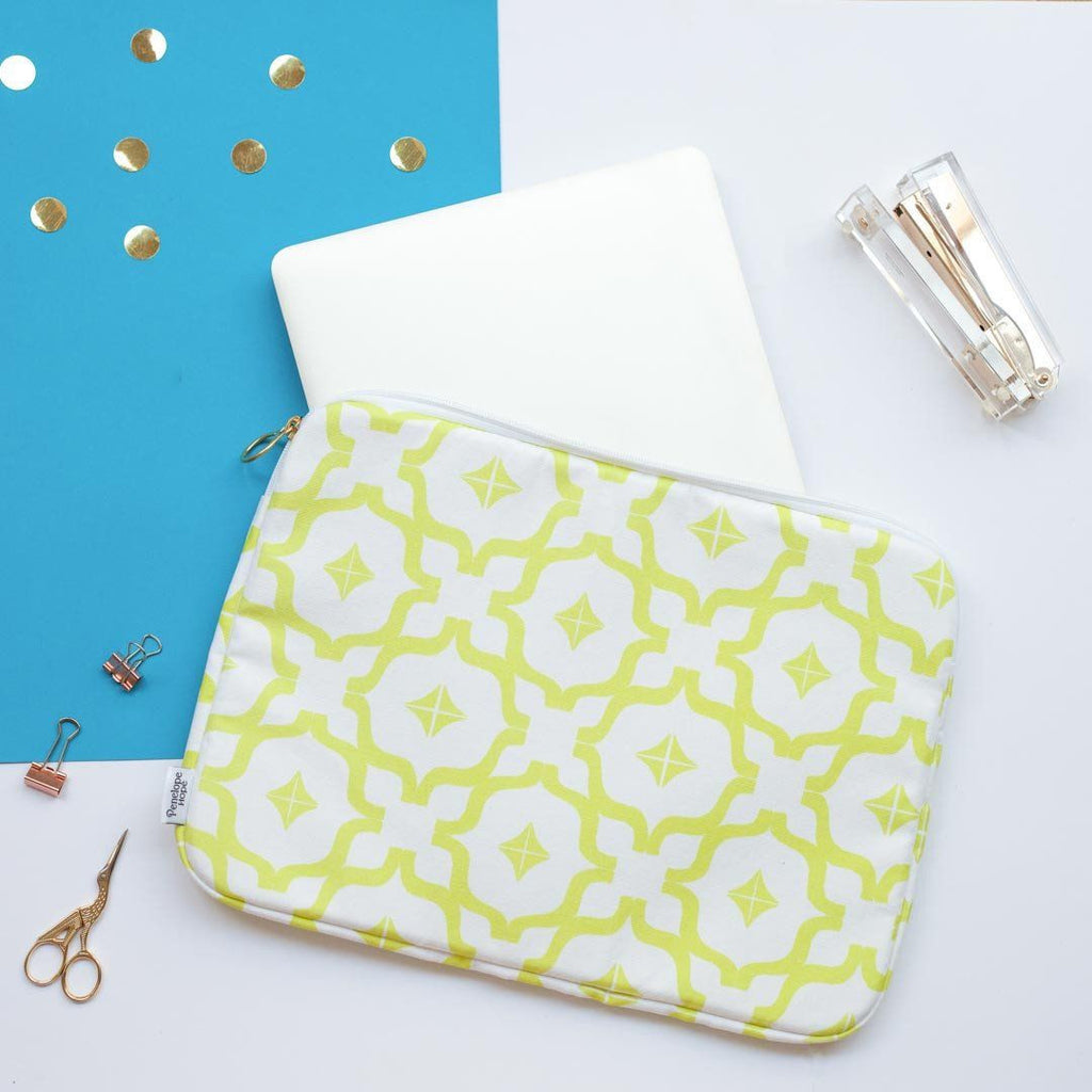 Yellow Moroccan Print Laptop Case by Penelope Hope